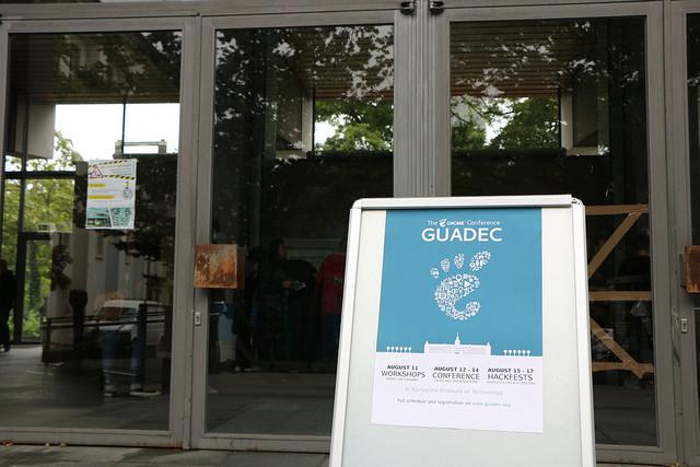 GUADEC sign outside of venue. Photo Credit: Jonathan Kang CC BY-NC-SA 2.0