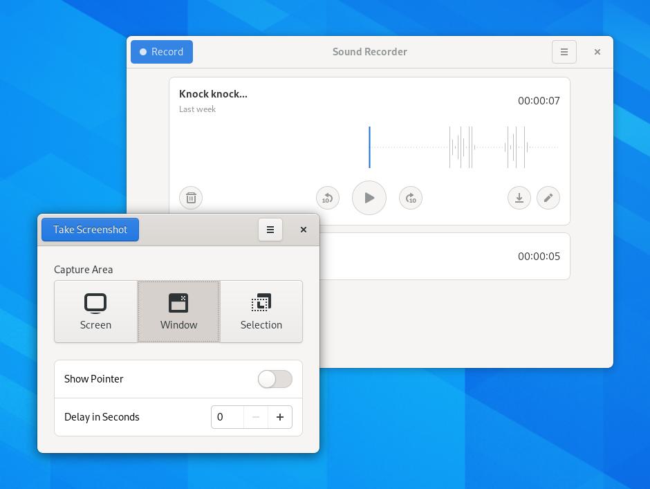 GNOME, Λήψη στιγμιοτύπου και ηχογράφιση